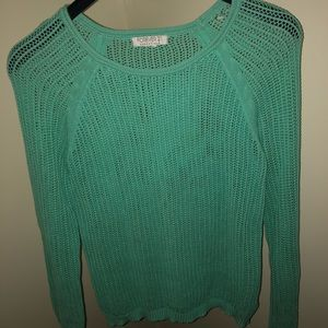 Forever 21 Essentials Teal Open-Knit Sweater (M?)